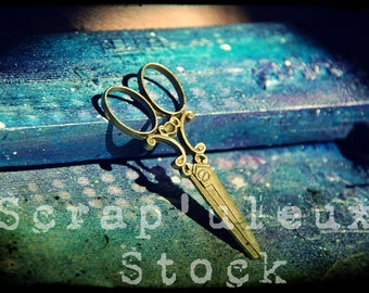 6x2.5cm, Golden antique scissors, individually