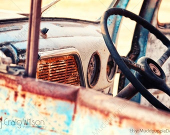 For Him VINTAGE retro CAR PHOTOGRAPHY wall art Classic old cars Rustic interior steering wheel ford dash board  wall decor MuddpuppieDesigns
