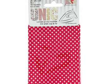 Coupon fusible fabric 21 x 29, 7cm hot pink with white polka dots