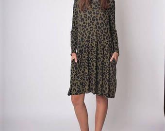 Long Sleeves Leopard print Dress,Oversize Dress Fit Flare Dress,Knee Length Dress,Loose Dress,Plus Size Dress, T-Shirt Dress