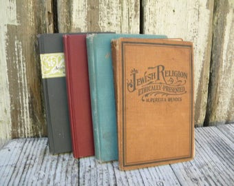 Shabby Book Stack. Set of four shabby religious or poetry books. Shabby book decor. library decor. home decor.cottage chic decor