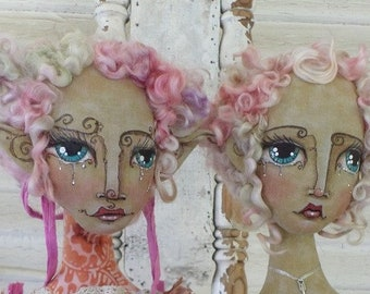Online Class Art Doll Faces Tutorial Workshop Drawing Artful Faces On Flat Fabric Heads