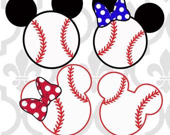 Minnie and Mickey Baseball Cutting or Printing Digital File SVG