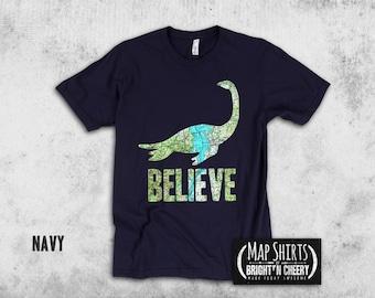 Champ Believe Map T Shirt, Lake Champlain lake monster shirt, I love Vermont, funny t shirt, unique vermont gift
