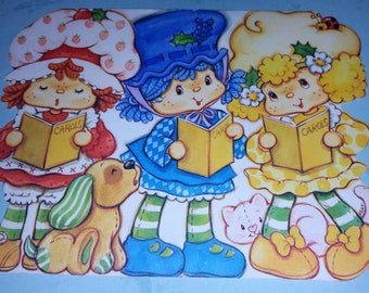 Strawberry Shortcake Vintage Greeting Card  Christmas Die - Cut with Blueberry Muffin and Lemon Meringue Holidays
