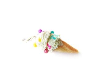 Birthday Cake Funfetti Ice Cream Charm, Miniature Food Jewelry, Polymer Clay Ice Cream Charm, Ice Cream Jewelry, Food Stitch Marker