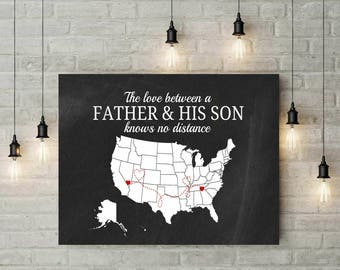 Dad Gift | Gift For Dad From Daughter | New Dad Gift | Father Daughter Gift | Canvas Print | Distance Gifts | Prints Wall Art - 68977