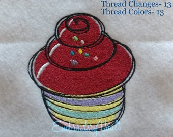 Doodle Cup Cake #2 Embroidery Design, Multiple Formats