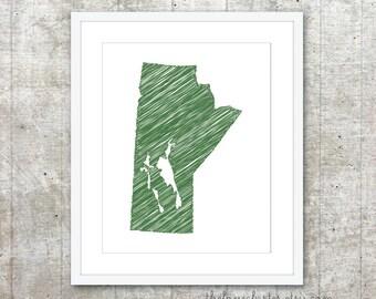 Manitoba Canada Province Art Print - Custom Canadian Province Poster - Green - Modern Minimalist Wall Art