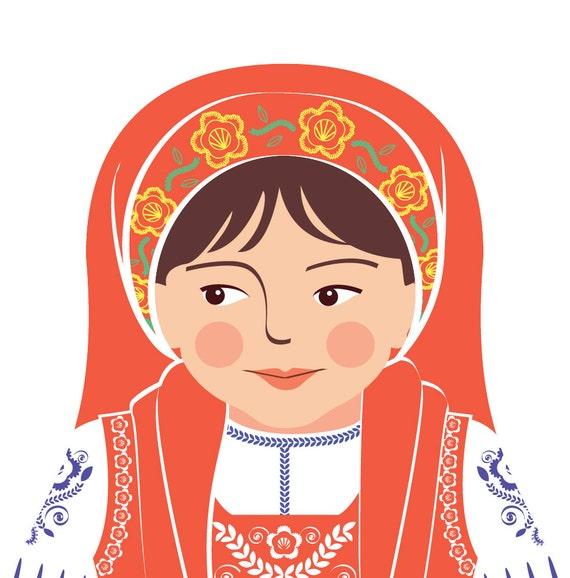 Portuguese Doll Art Print with traditional folk dress, matryoshka