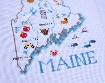 Maine Needlepoint, State of Maine, Maine Art, State Map, Portland, Augusta, Bangor, Maine Farming, Dairy Farms, Fish and Boats, Unframed