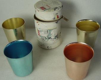 EMKA ? multicolour aluminium shot beaker set hunting cups in case