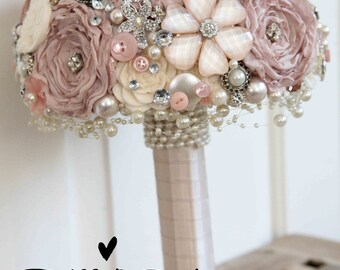 Vintage style shabby chic artificial brooch bridal wedding posie bouquet made to order in pinks