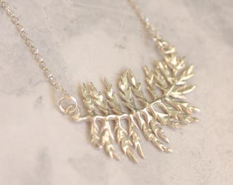 Fern necklace - leaf necklace - fern pendant - sterling silver