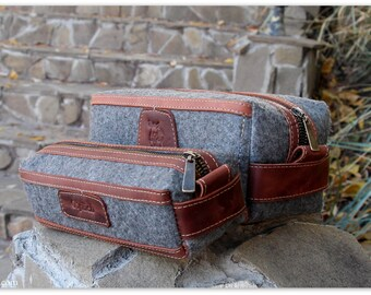Gift for Him/ Grey Felt & Waxed Leather Men's Toiletry Bag / Groomsmen Gift Bags /Cognac Brown Leather Dopp Kit /Personalization