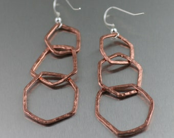 Three Tiered Hammered Copper Dangle Link Earrings ------ Makes a Beautiful 7th Wedding Anniversary Gift! - Handmade Jewelry by John S Brana