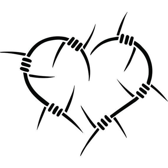 Heart Shaped Barbed Wire Star Love Peace Affection Pain Broken