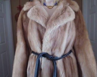 Mink Fur Long Jacket Coat With Leather Belt Vintage Size ML