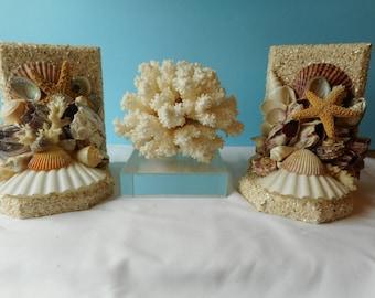 Sea Shell Bookends- Shell Bookends- Coastal Nautical Bookends-Seashell Art-Beah Decor