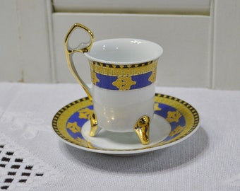 Vintage Yao Shing Demitasse Cup and Saucer Blue Gold Green Ornate Design Collectible Teacup PanchosPorch