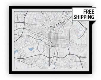 Raleigh Map Print - Choose your color