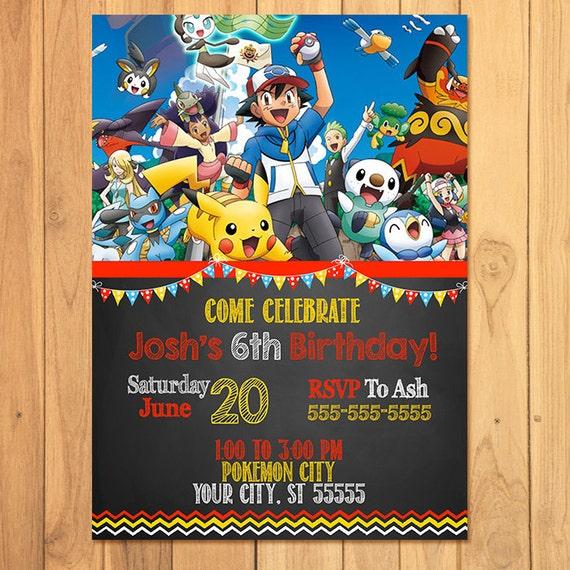 Birthday Cards Pokemon: Pokemon Invitation Chalkboard Pokemon Birthday Pokemon