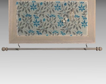 Hanging Earring Holder & Jewelry Organizer includes Necklace Holder. Shabby Chic Wood Frame Jewelry Display. Hand Painted Jacobean Design.