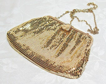 Whiting and Davis Gold Mesh Purse With Rhinestone Clasp and Gold Chain