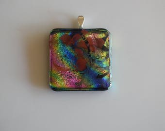 Splash Of Color Dichroic Glass Pendant On Silver Plated Necklace