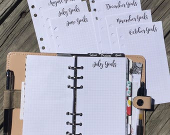 Monthly Goals on Grid Printed Planner Inserts