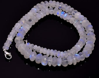 RAINBOW FIRE MOONSTONE , Moonstone Faceted Beads Necklace ,