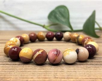 Mookaite Jasper Bracelet, Red Jasper Beaded Bracelet, Healing Crystals and Stones, Womens Bead Bracelet, Mens Beaded Bracelet, 8mm Gemstone