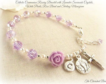 Communion Lavender Swarovski Crystal, Pearl and Rose Rosary Bracelet with Sterling Silver Monogram Charm