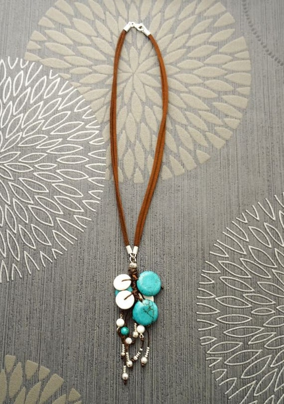 Turquoise Boho Necklace - Brown Leather Necklace - Turquoise Lariat Necklace - Native inspired Necklace- Boho Necklace - Hipster Jewelry