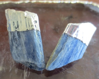 Blue Kyanite stud earrings, Kyanite earrings, Kyanite stud earrings silver