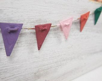 Fairy Garden Pennant Flags ~ Miniature Party Flags for Fairies ~ Birthday Garland Fairy Garden Accessory ~ Miniature Garden Supplies