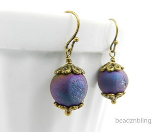 Iridescent Purple Drop Earrings Raw Stone Druzy Earrings Titanium Metallic Stones