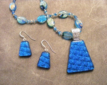 Dichroic Caribbean Blue Beaded Pendant & Earring Set