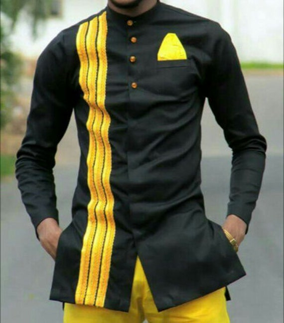 Ankara Men's Outfit African Mens Outfit Black And Yellow