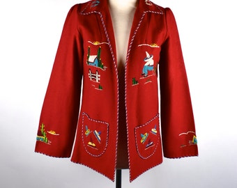 1950's Mexican Tourist Jacket by Lopez    Felted Wool Mexican Folk Jacket    Peasant Jacket