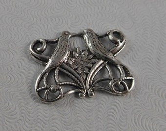 LuxeOrnaments Antique Silver Filigree Love Birds Focal Connector (Qty 1) 20x15mm G-5272-S