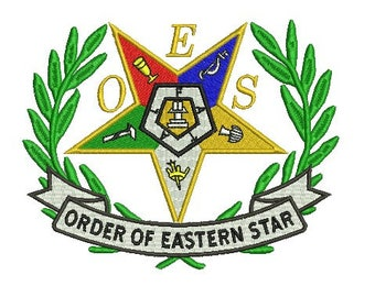 Order of the eastern star embroidery design