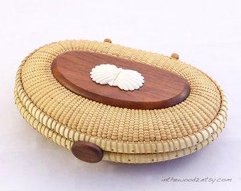 Nantucket Cherry Clutch - Nantucket Basket - Seashell Basket Purse