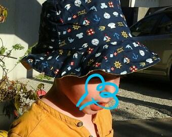 Bob / child hat 2 / 3 years theme sailor yellow lining