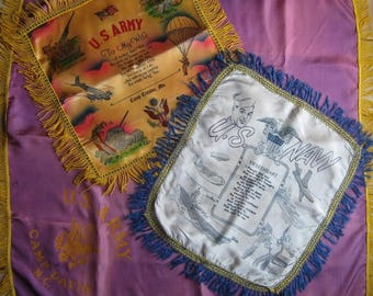 Collection of WWII-Era Military Souvenir Pillow Covers, Army Scarf, As-Is