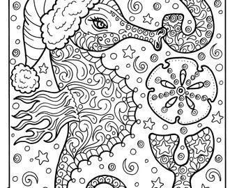 Whale Christmas Coloring Page Adult Coloring sea life beach
