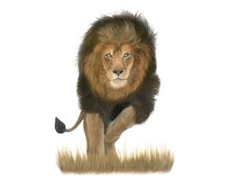 Lion Wall Art - Lion Painting - Lion Art Print - African Animal Print - Safari Nursery - Animal Art - Home Wall Decor Print - Gift for Him