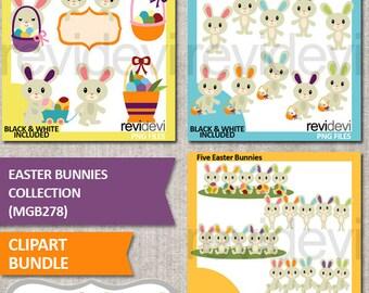 Easter bunnies clipart bundle sale, Easter bunny clip art, Easter eggs, basket, commercial use, instant download