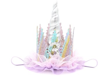 Birthday unicorn ballerina lace crown headband   pastel rainbow    Unicrown    Photography Prop