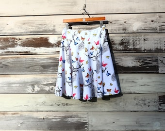 Dear Butterfly Circle Skirt, A-Line Skirt, Custom made in all lengths and sizes, from petite to plus